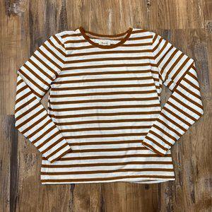 MADEWELL Long Sleeve Basic Striped Burnt Orange M